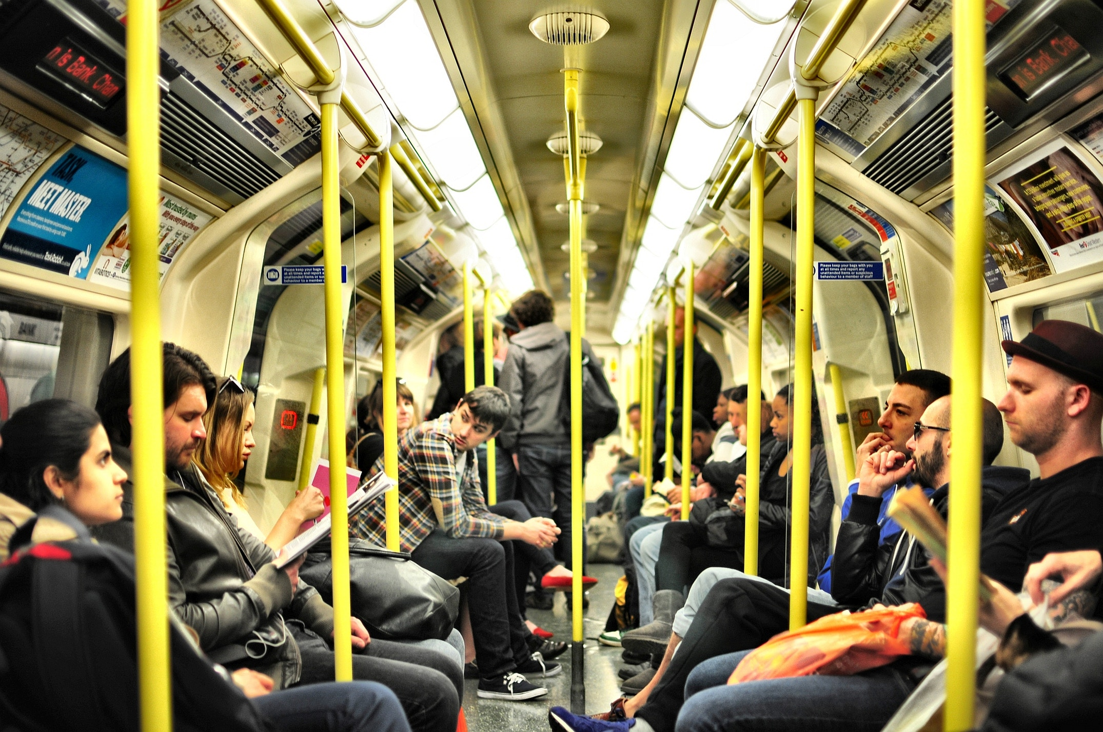 commuters on a London tube